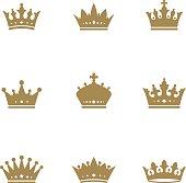 istock Gold crown set 505526324
