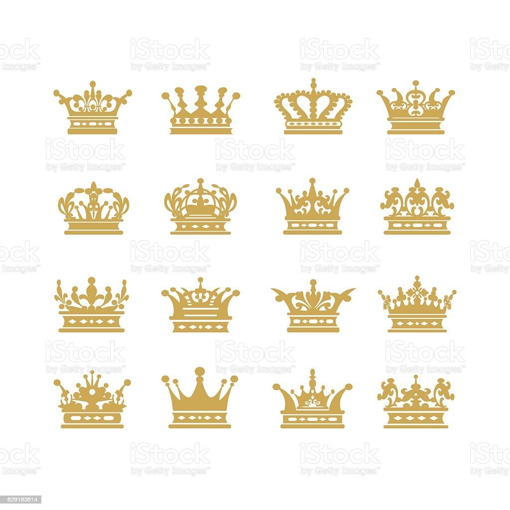 Gold crown set vector illustration