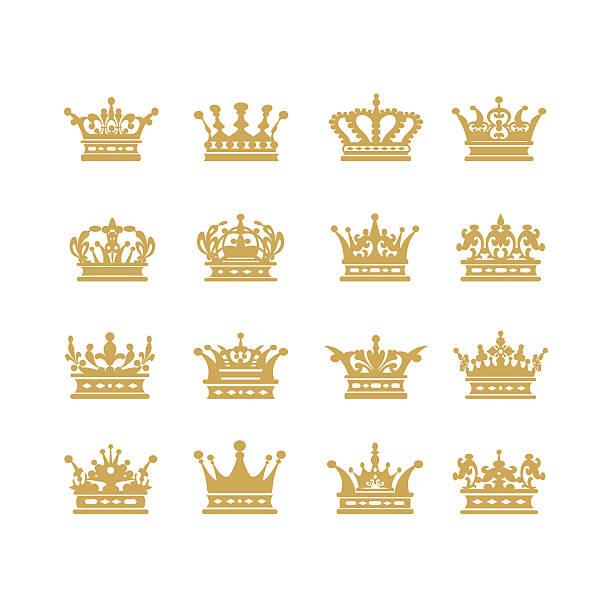 Gold crown set vector illustration - ilustración de arte vectorial
