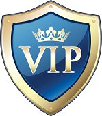 Elite VIP gold crown shield with a blue background.