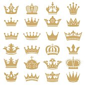 Gold crown silhouette. Royal crowns, coronation king and luxury queen tiara silhouettes. Golden monarch hat, aristocracy crown or royal medieval leadership signs. Isolated icons vector set