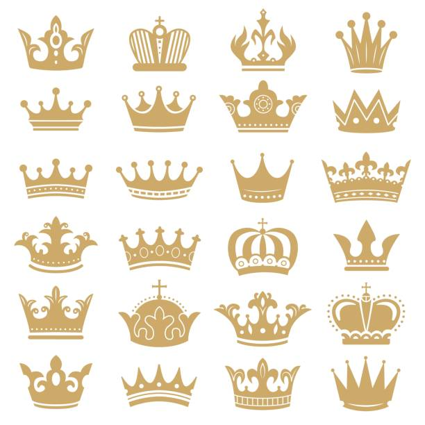 Gold crown silhouette. Royal crowns, coronation king and luxury queen tiara silhouettes icons vector set Gold crown silhouette. Royal crowns, coronation king and luxury queen tiara silhouettes. Golden monarch hat, aristocracy crown or royal medieval leadership signs. Isolated icons vector set crown headwear stock illustrations