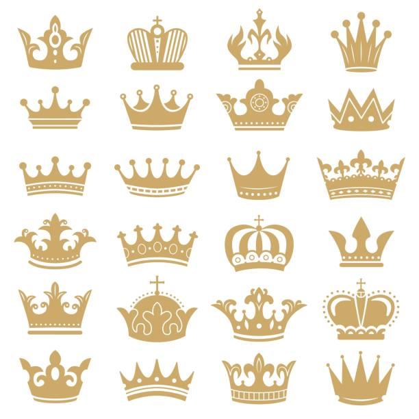 金冠剪影。皇家皇冠,加冕王和豪華女王頭飾剪影圖示向量集 - 皇冠 頭飾 幅插畫檔、美工圖案、卡通及圖標