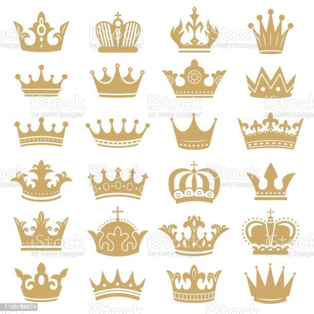 Silhouette De Couronne Dor Couronnes Royales Roi De Couronnement Et La Reine De Luxe Diadème Silhouettes Icônes Vector Ensemble Vecteurs libres de droits et plus d'images vectorielles de Armoiries
