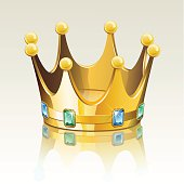 Gold crown with jewelry. Download contains EPS 8, AI 8, AI CS5, PDF, JPEG (5950 x 5950px). All elements are in seperate layers and grouped, no transparencies.