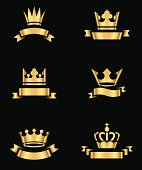 Set of gold crowns and banners.  Colors in gradients are global, so they can be changed easily.  Each element is grouped individually for easy editing.