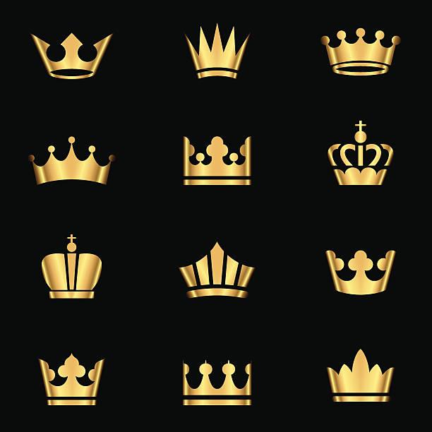 illustrations, cliparts, dessins animés et icônes de ensemble de couronnes d'or - diademe