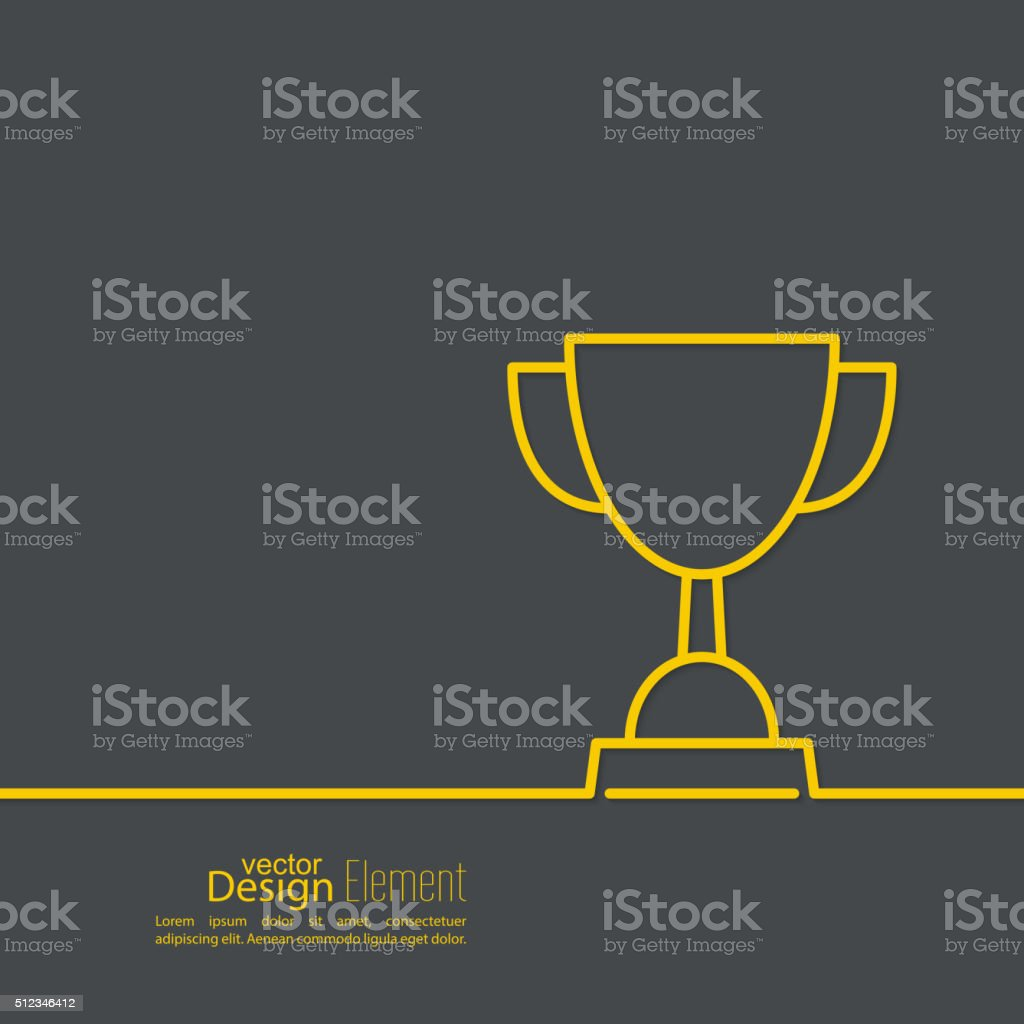 Gold cup of the winner vector art illustration