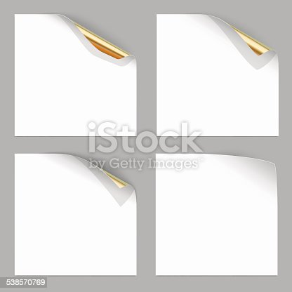 Gold Curled Corner of Paper Sheets. Vector Illustration