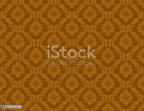 istock Gold Damask Luxury Decorative Textile Pattern 1249253039