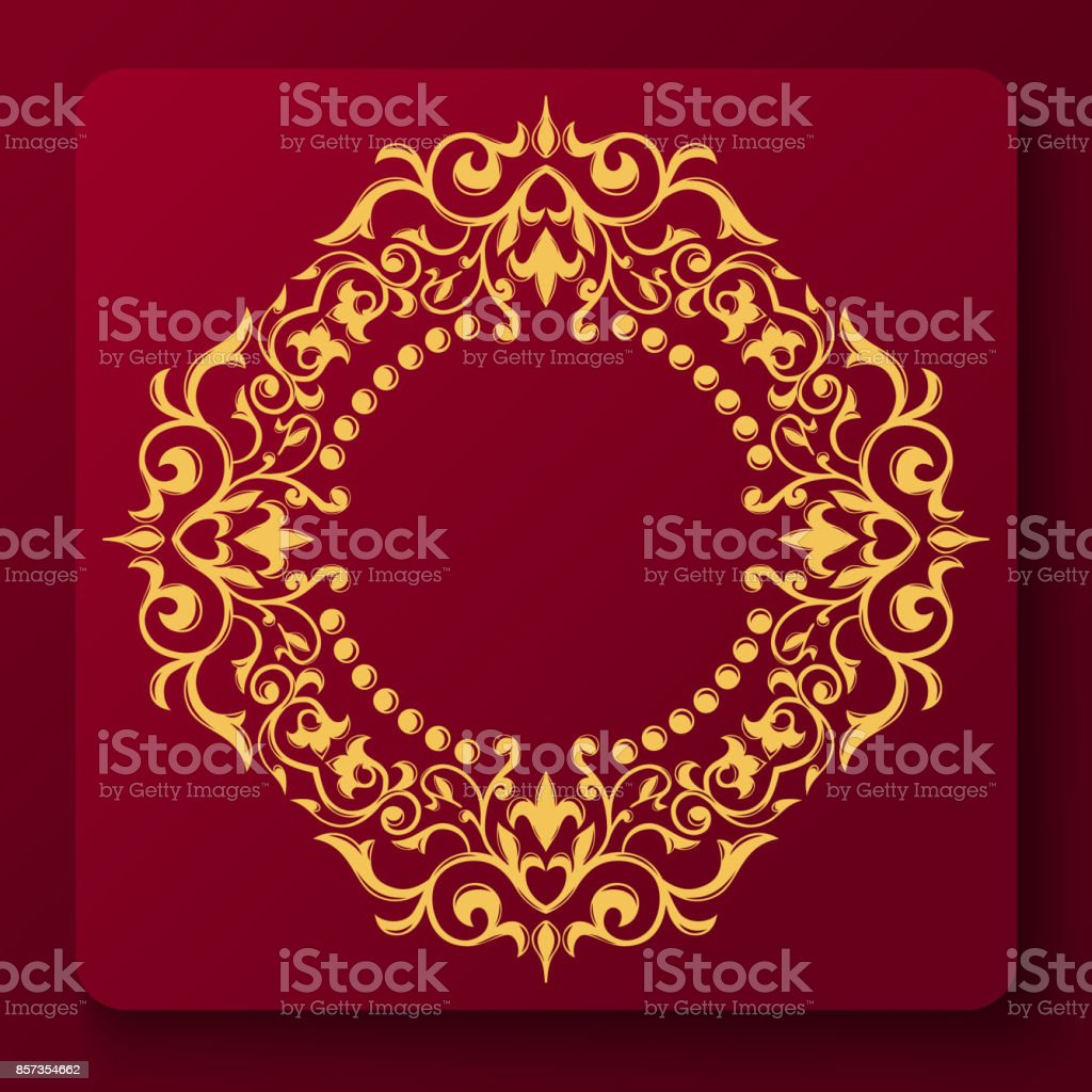 Gold decorative floral frame and monogram initials. Vector heraldic templates. vector art illustration