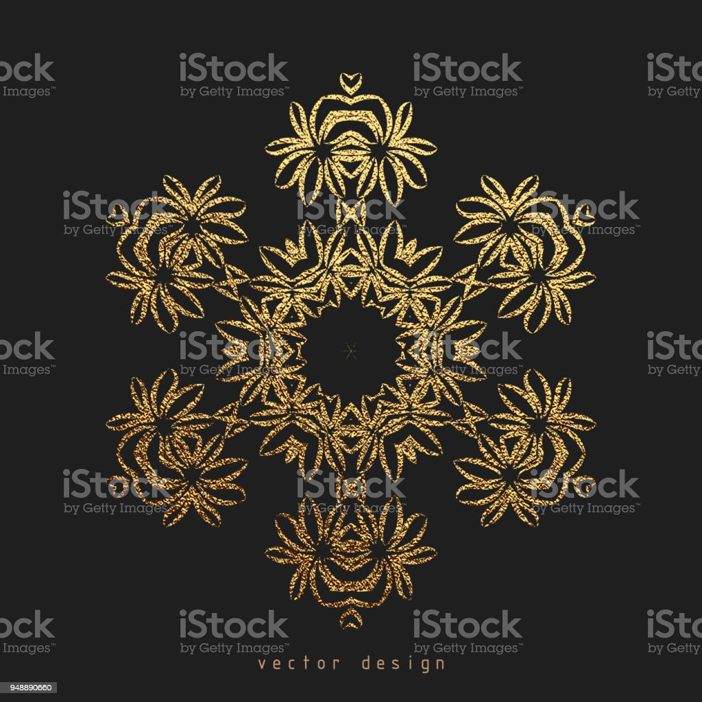 Gold Decorative flower Mandala. Golden Vintage ethnic element vector art illustration