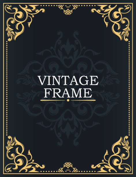 gold decorative frame. interwoven vintage ornament. flowers and leaves. greeting card in grunge or retro style. design of books, invitations, postcards, booklets. - book borders stock illustrations