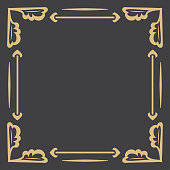 Flower gold decorative frame. An elegant element of design with the place for the text. Production of invitations, menu, cafe and boutiques. Vector.