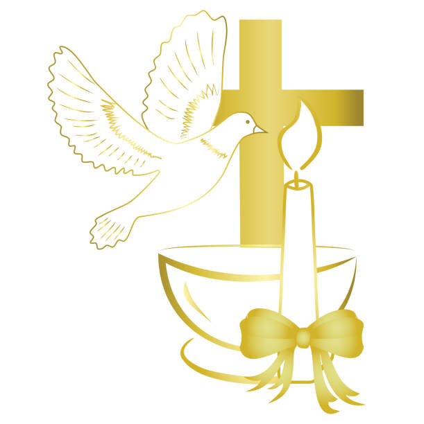 gold design for sacrament of baptism invitation, card. - christening stock illustrations, clip art, cartoons, & icons