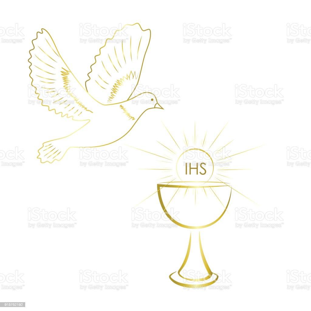 Gold Design Of First Communion Symbols Stock Vector Art More