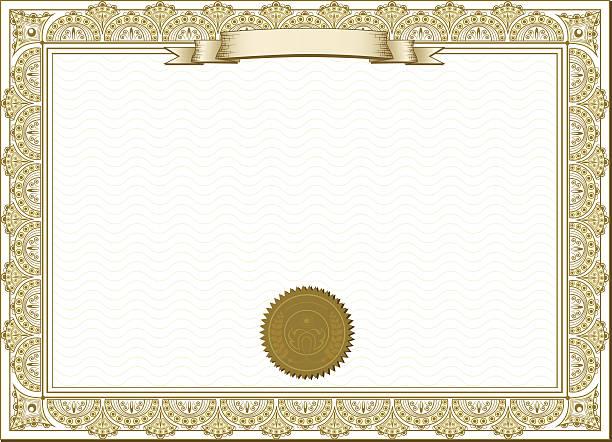 Gold detailed certificate vector art illustration