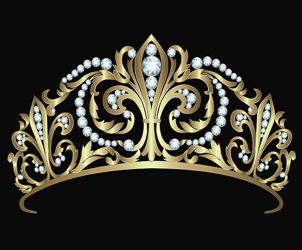 Gold diadem with diamonds Gold diadem with diamonds on black background diademe stock illustrations
