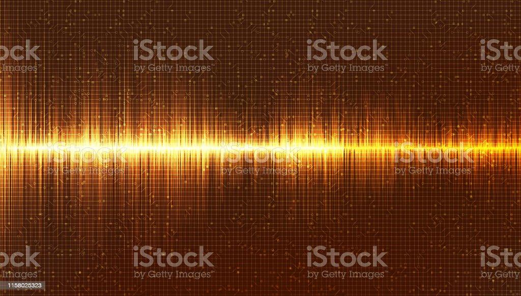 Gold Digital Sound Wave Background,Music and Hi-tech diagram...