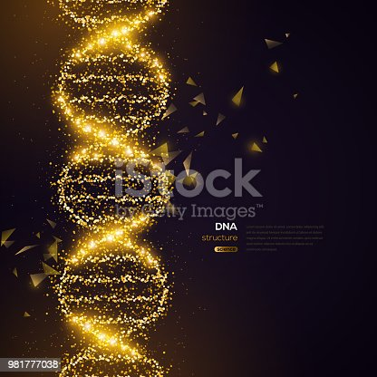 Gold DNA Helix on Black Background with Glittering Particles. Vector illustration. Science and Medical Research Concept Banner with Molecular Structure and Broken Strands