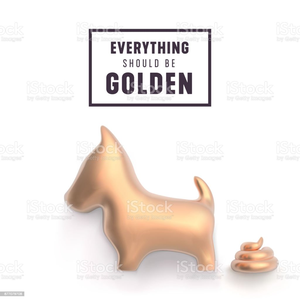 gold dog and poop for funny new year greetings vector illustration royalty free