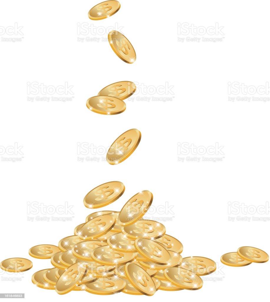 Gold dollar coins vector art illustration