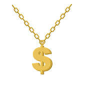 Gold dollar on chain. Decoration for rap artists.