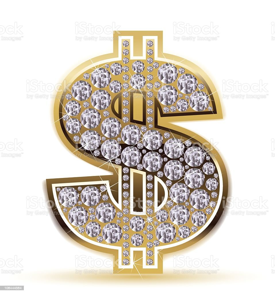 a gold dollar sign encrusted with silver jewels stock