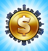 Gold Dollar Sign on Rural Cityscape Skyline Background. The main object in this illustration is depicted inside a circle in the center of the composition, there is a rural street cityscape design going around the circle to indicate the suburban setting of the image. The buildings include a variety of houses and suburban architectural structures. This image is ideal for real estate and  life concepts.