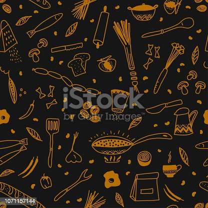 Gold Doodle Vegetables, Fruits and Utensils Isolated on Blackboard Seamless Vector Pattern