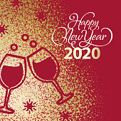 Join the celebration party for the New Year 2020 with gold dust spreading over the red background and cut out the shape of celebratory toast and snowflakes