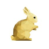 An original low poly artwork vector illustration of a Easter rabbit in yellow gold on a flat white or blank background. No lettering included. This square composition allows space for your message and may serve as an Easter decoration, a postcard, flyer, web banner, shop window, poster, or POS.