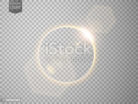 istock Gold eclipse with lens flare. isolated on transparent background 1169563083