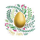 An original artwork vector illustration of a gold Easter egg isolated. This inspirational design can be a postcard, invitation or flyer.