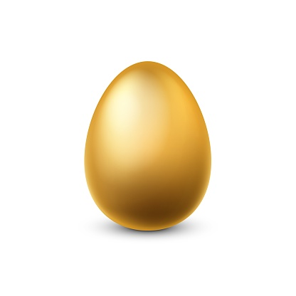 Gold egg. Traditional easter golden glittering realistic luxury chicken egg for spring holidays, finance success and money profit symbol, yellow metal souvenir 3d single vector isolated illustration
