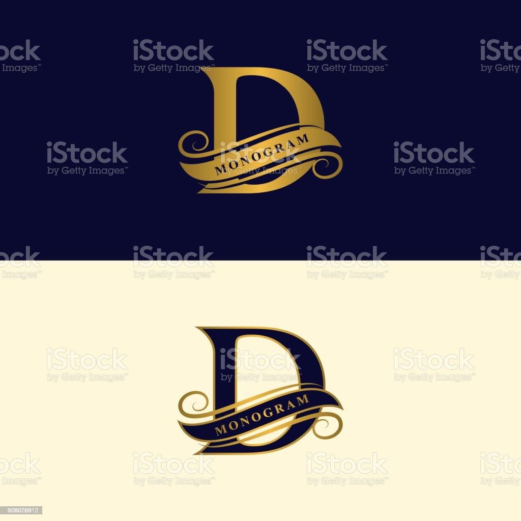 Gold Elegant Brief D. anmutigen Stil. Kalligraphische schönes Zeichen. Vintage gezeichnete Emblem für Buchgestaltung, Markenname, Visitenkarte, Restaurant, Boutique, Hotel. Vektor-illustration – Vektorgrafik