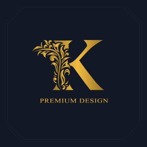 金優雅字母 k.婀娜多姿的風格。書法的美好標誌。書籍裝幀設計、 品牌名稱、 商務卡、 餐廳、 精品店、 酒店的老式繪製的象徵。向量圖 - k logo 幅插畫檔、美工圖案、卡通及圖標