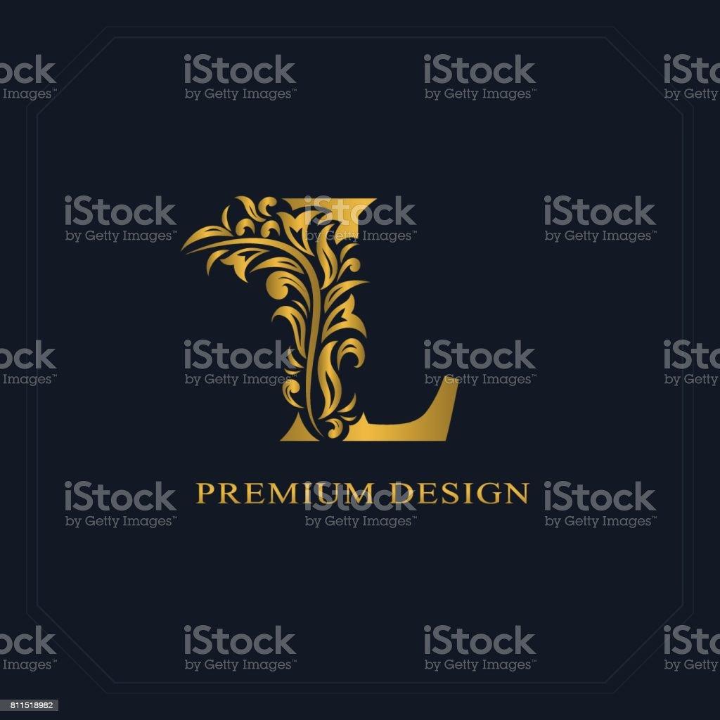 Gold elegante Brief L. anmutig Stil. Kalligraphische schönes Zeichen. Vintage gezeichnete Emblem für Buchgestaltung, Markenname, Visitenkarte, Restaurant, Boutique, Hotel. Vektor-illustration – Vektorgrafik