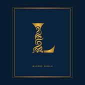 gold elegant letter l graceful style calligraphic beautiful sign vintage drawn emblem for