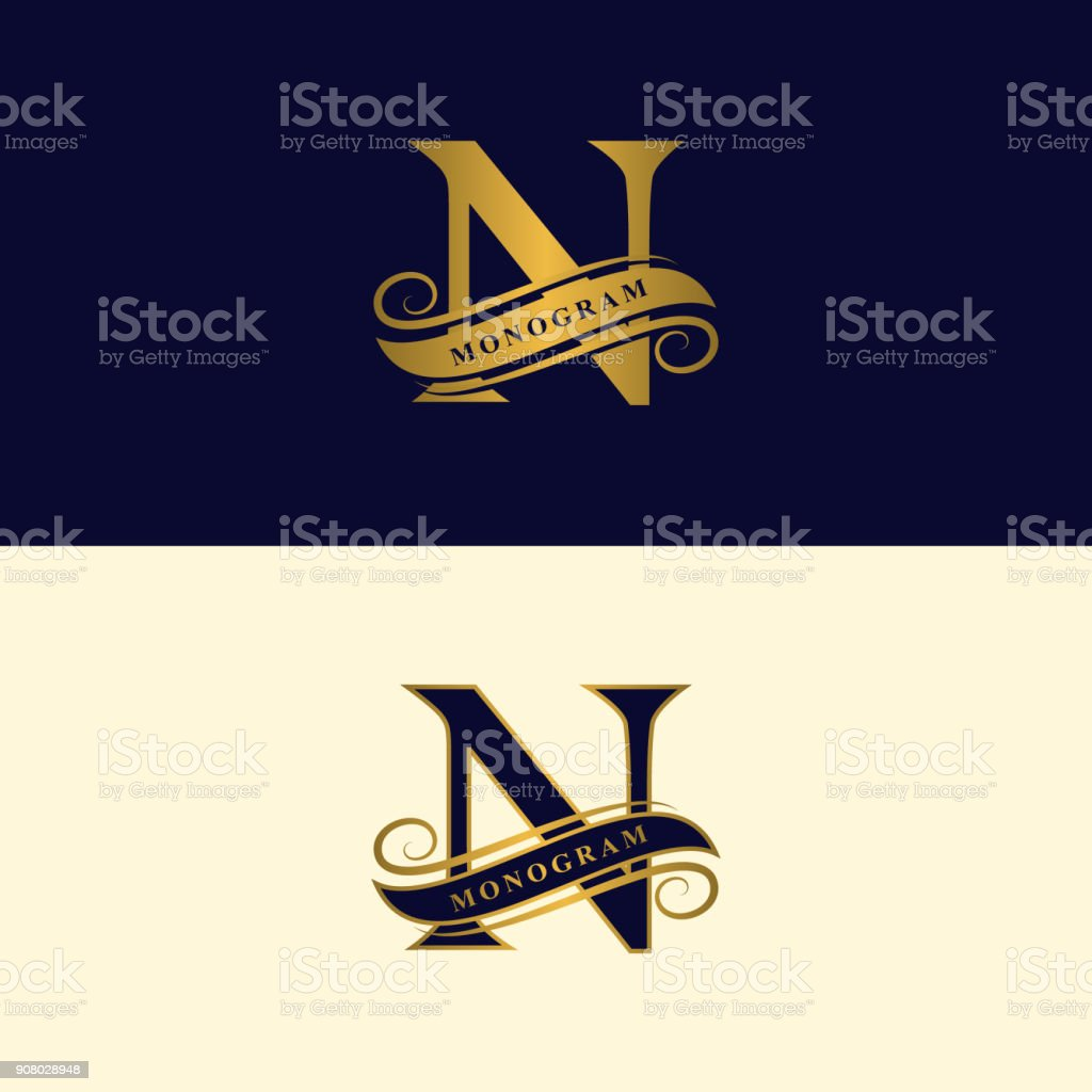 Gold Elegant Letter N Graceful Style Calligraphic Beautiful Sign