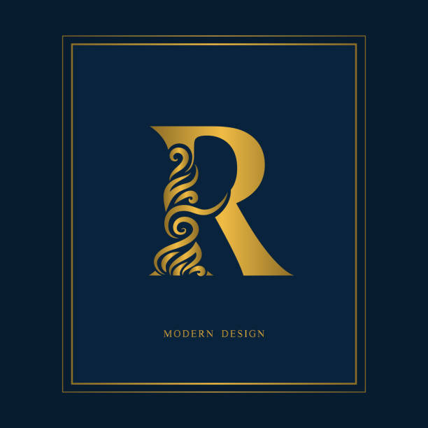 Gold Elegant Letter R Graceful Style Calligraphic Beautiful Sign Vintage Drawn Emblem For