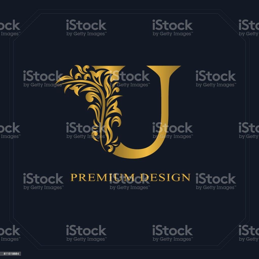 Gold Elegant Letter U Graceful Style Calligraphic Beautiful Sign Vintage Drawn Emblem For