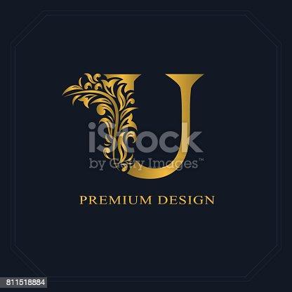 Gold Elegant Letter U Graceful Style Calligraphic Beautiful Sign Vintage Drawn Emblem For Book Design Brand Name Business Card Restaurant Boutique Hotel