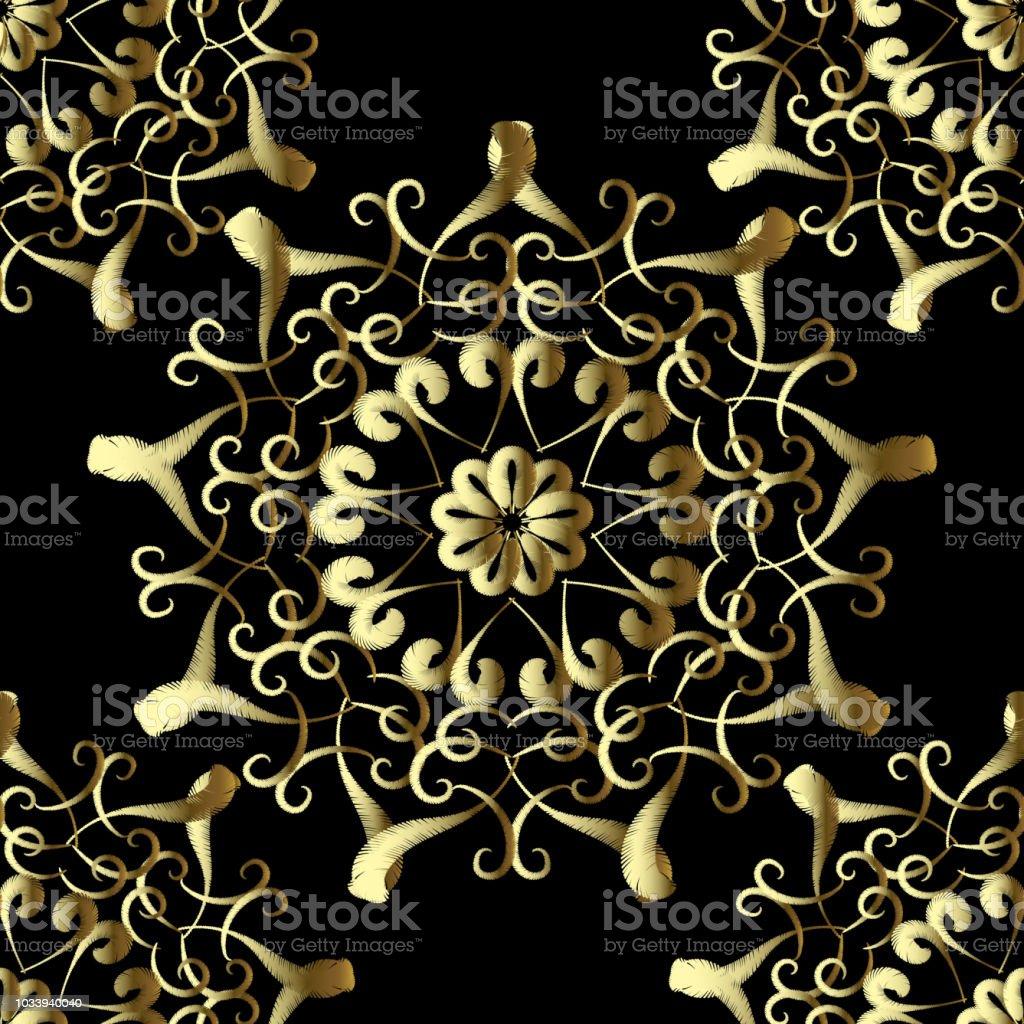 Ilustración de Oro Bordados Estilo Vector Floral De Patrones Sin ...