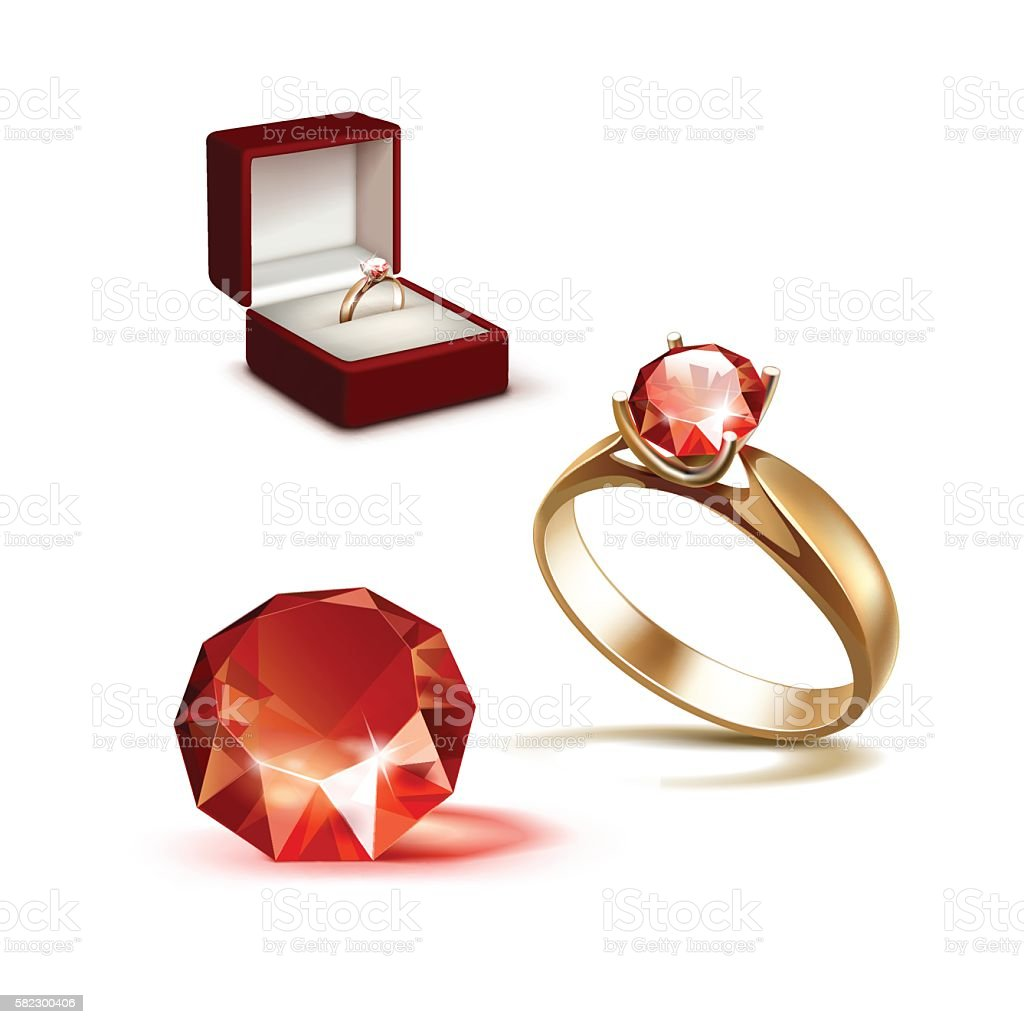 Gold Engagement Ring Red Shiny Clear Diamond Jewelry Box Stock
