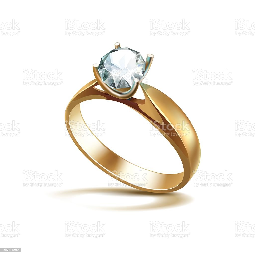 Gold Engagement Ring with White Shiny Clear Diamond Isolated vector art illustration