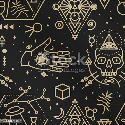 Gold esoteric seamless pattern, background. Vector. Thin line geometric pattern. Outline texture for alchemy or sacred geometry. Mystic and magic design with philosopher stone, hand, skull, ufo flying