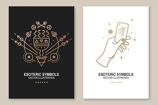 Gold esoteric symbols. Vector. Thin line geometric badge. Outline icon for alchemy or sacred geometry. Mystic and magic design with hand, cup with snakes and and moon