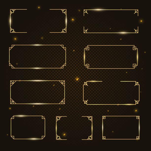 gold fashionable geometric vector frame, border divider set - paranormalny stock illustrations