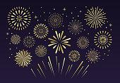 Gold festive fireworks. Christmas pyrotechnics firecracker party, independence anniversary festival firework celebration glitter golden explosion vector illustration background